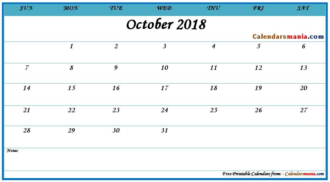 October 2018 PDF Calendar