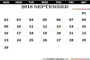 September 2018 PDF Calendar