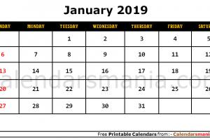 January 2019 Blank Calendar
