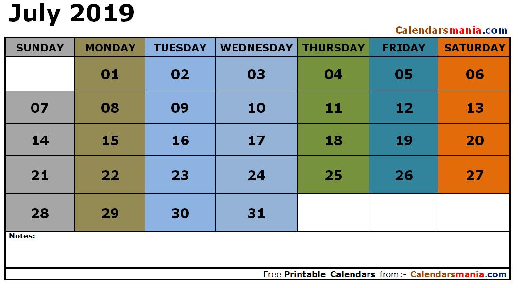 July 2019 Calendar Tumblr