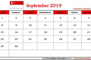 September 2019 Calendar Singapore