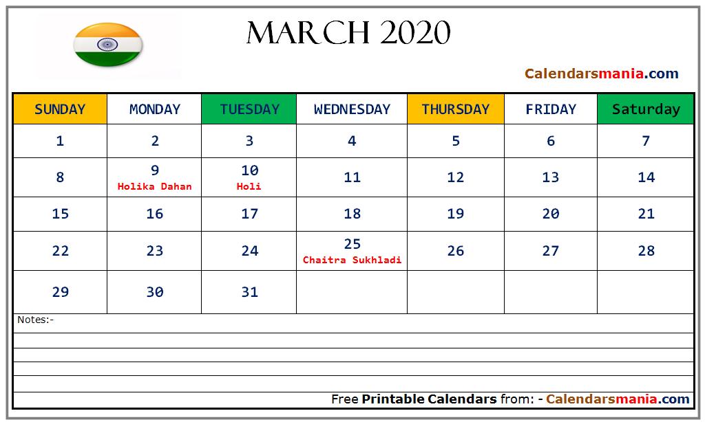 March 2020 Calendar India